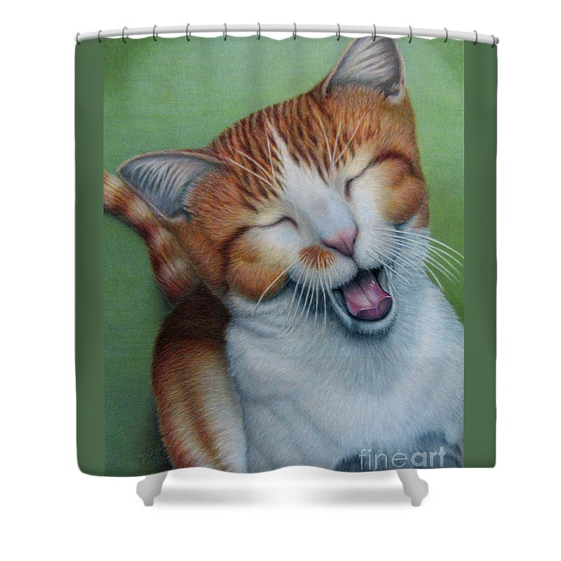 Fuqua - Artwork Shower Curtain featuring the drawing Really I Am Wide Aaawaaaaake by Beverly Fuqua