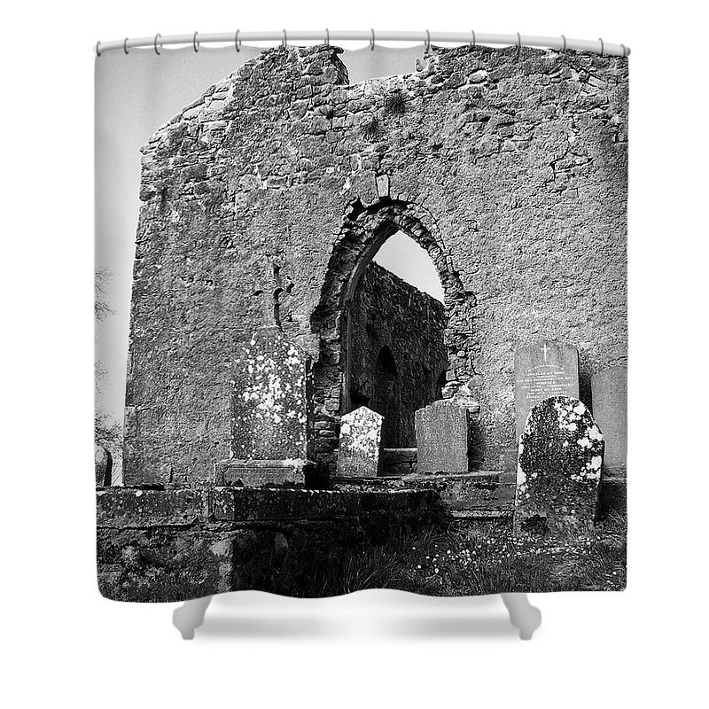 Ireland Shower Curtain featuring the photograph Rear Entrance Fuerty Church Roscommon Ireland by Teresa Mucha