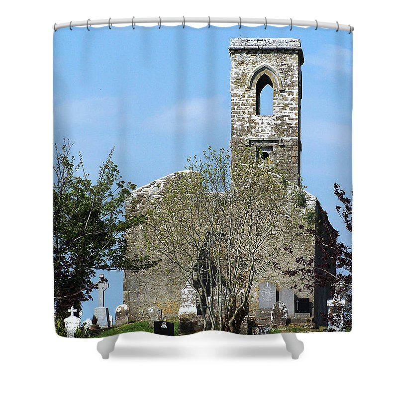 Fuerty Shower Curtain featuring the photograph Rear View Fuerty Church And Cemetery Roscommon Ireland by Teresa Mucha
