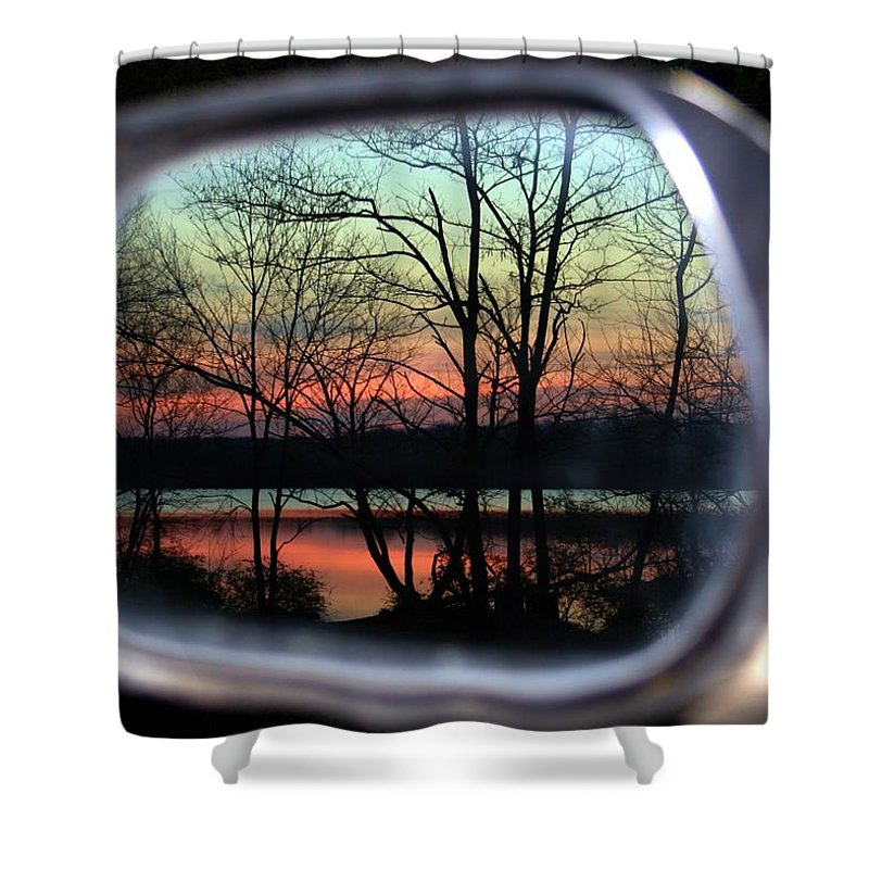 Rearview Mirror Shower Curtain featuring the photograph Rearview Mirror by Mitch Cat
