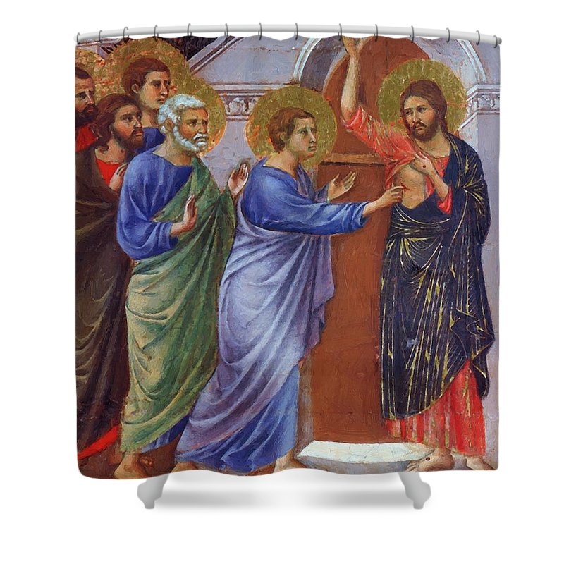 Reassuring Shower Curtain featuring the painting Reassuring Thomas Fragment 1311 by Duccio