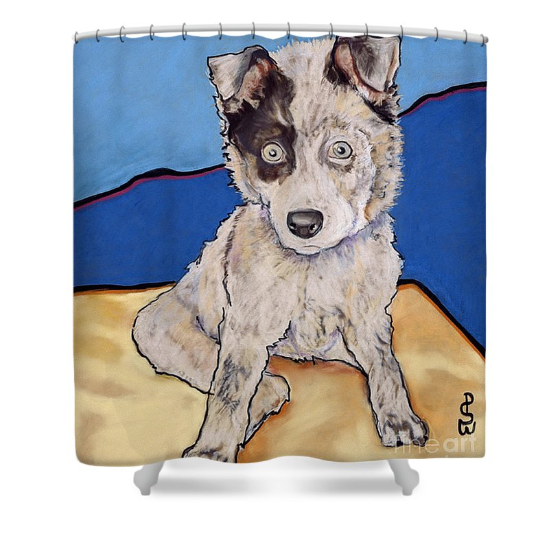 Merle Aussie Shower Curtain featuring the painting Reba Rae by Pat Saunders-White
