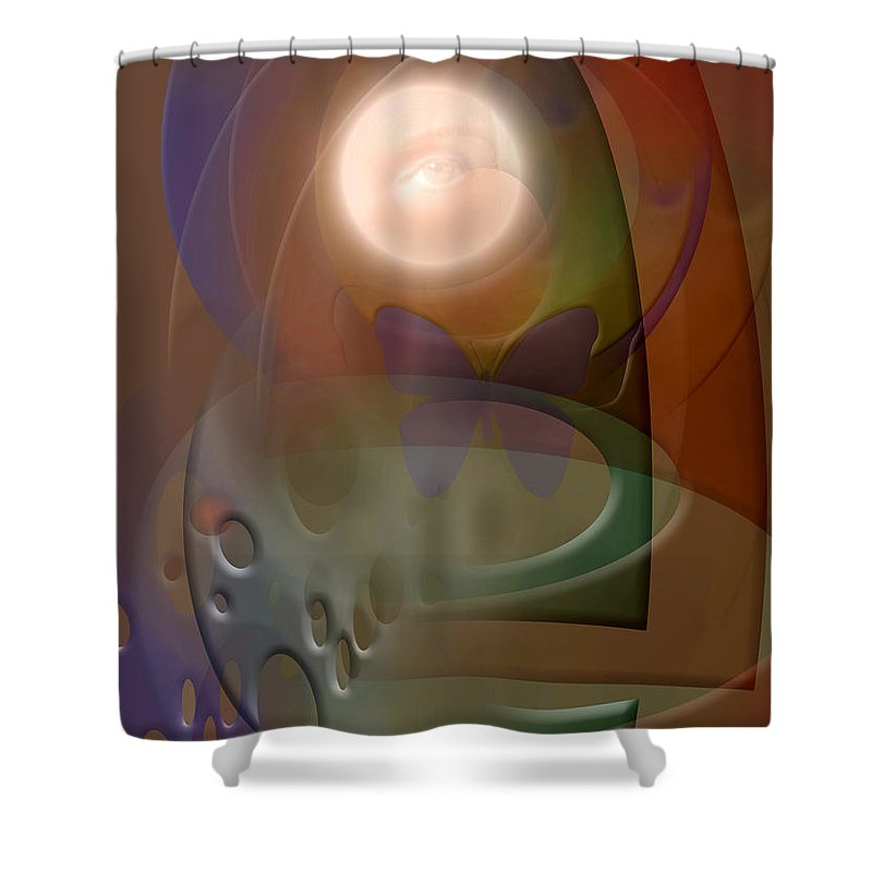 Abstract Shower Curtain featuring the digital art Rebirth by Stephen Lucas