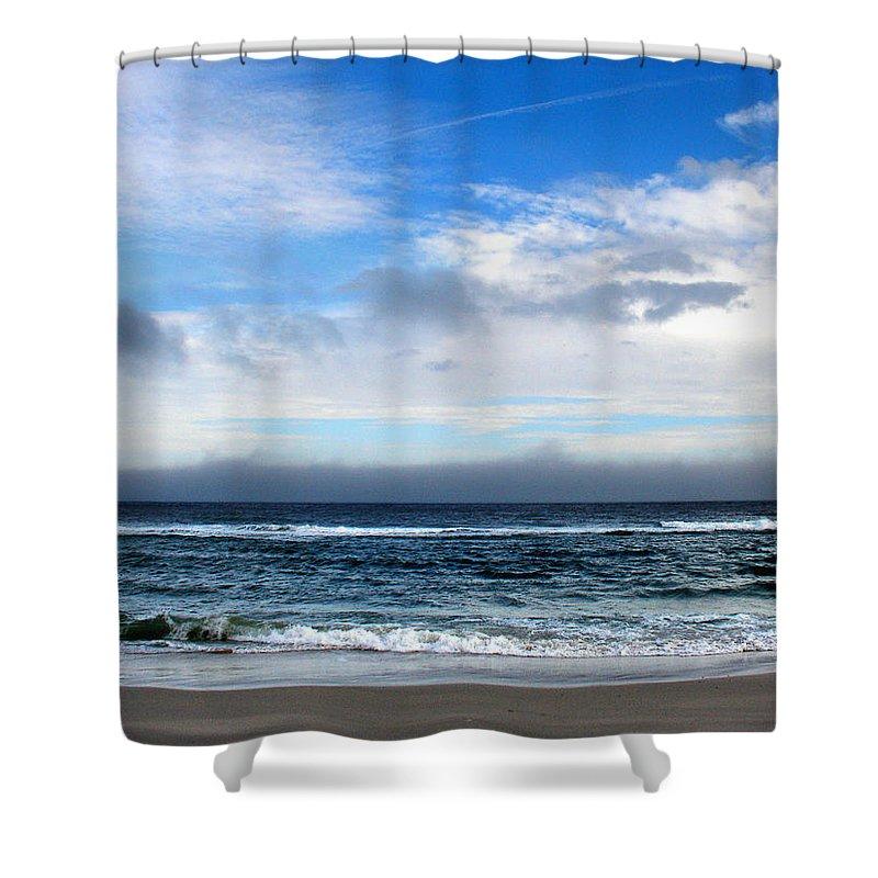 Seascape Shower Curtain featuring the photograph Receding Fog Seascape by Steve Karol