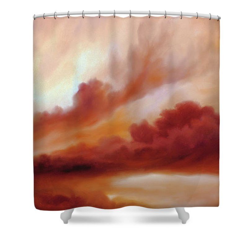 Skyscape Shower Curtain featuring the painting Receding Storm Sketch IIi by James Christopher Hill