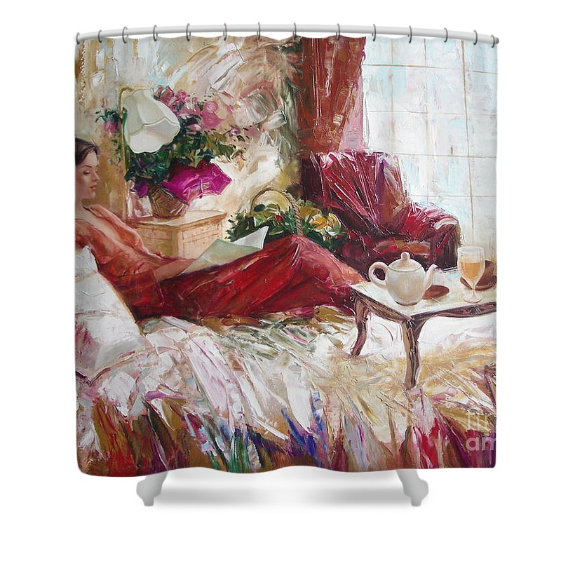 Art Shower Curtain featuring the painting Recent News by Sergey Ignatenko