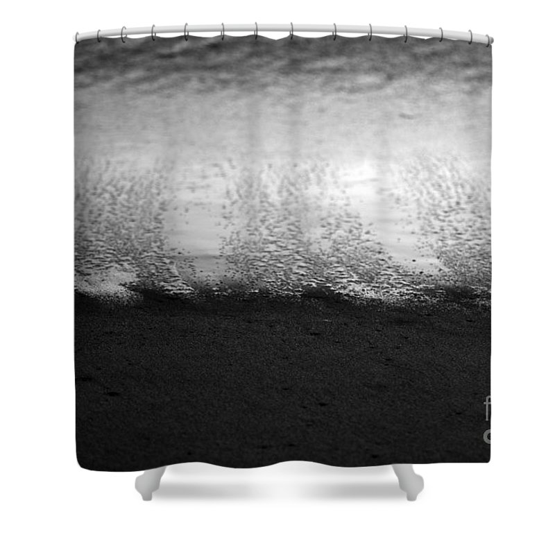 black And White Shower Curtain featuring the photograph Recession by Amanda Barcon