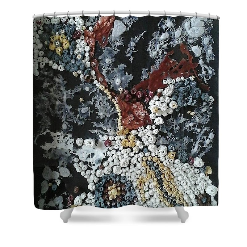 Cuadro Abstracto Shower Curtain featuring the painting Corales 1 by Kunka Andonova