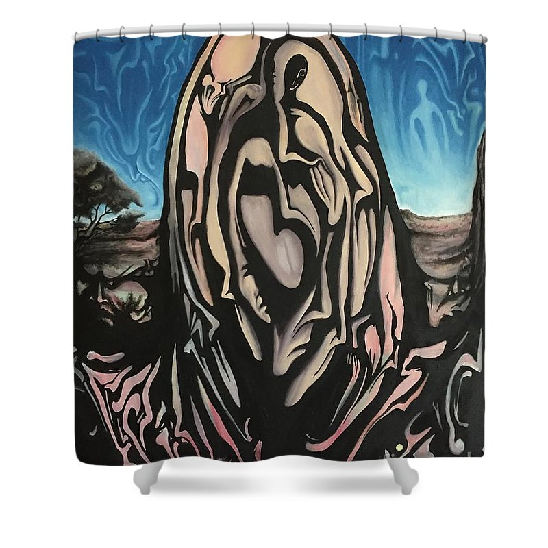 Tmad Shower Curtain featuring the painting Recluse by Michael TMAD Finney