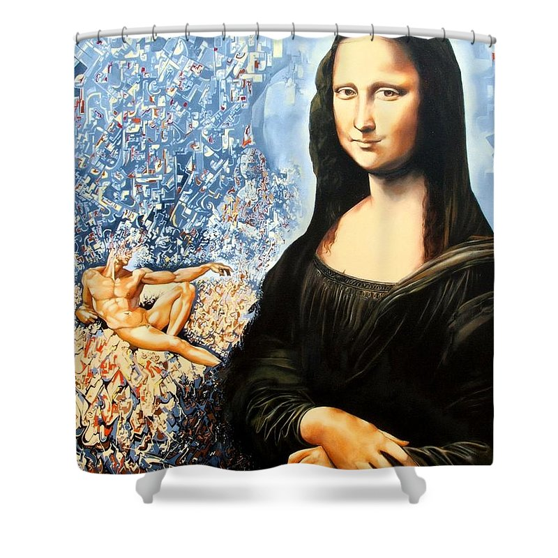 Surrealism Shower Curtain featuring the painting Reconstruction Of High Renaissance by Darwin Leon