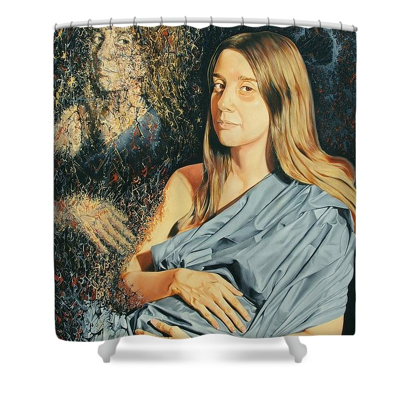 Surrealism Shower Curtain featuring the painting Reconstruction Of The Classical Madonna by Darwin Leon