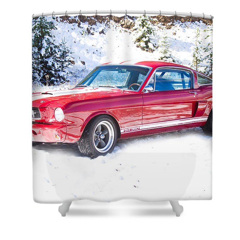 Automobiles Shower Curtain featuring the photograph Red 1966 Ford Mustang Shelby by James BO Insogna