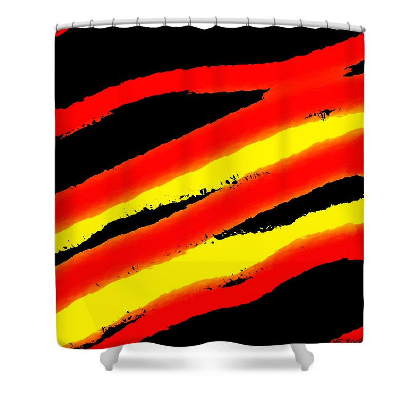 Modern Shower Curtain featuring the digital art Red Abstract by ME Kozdron
