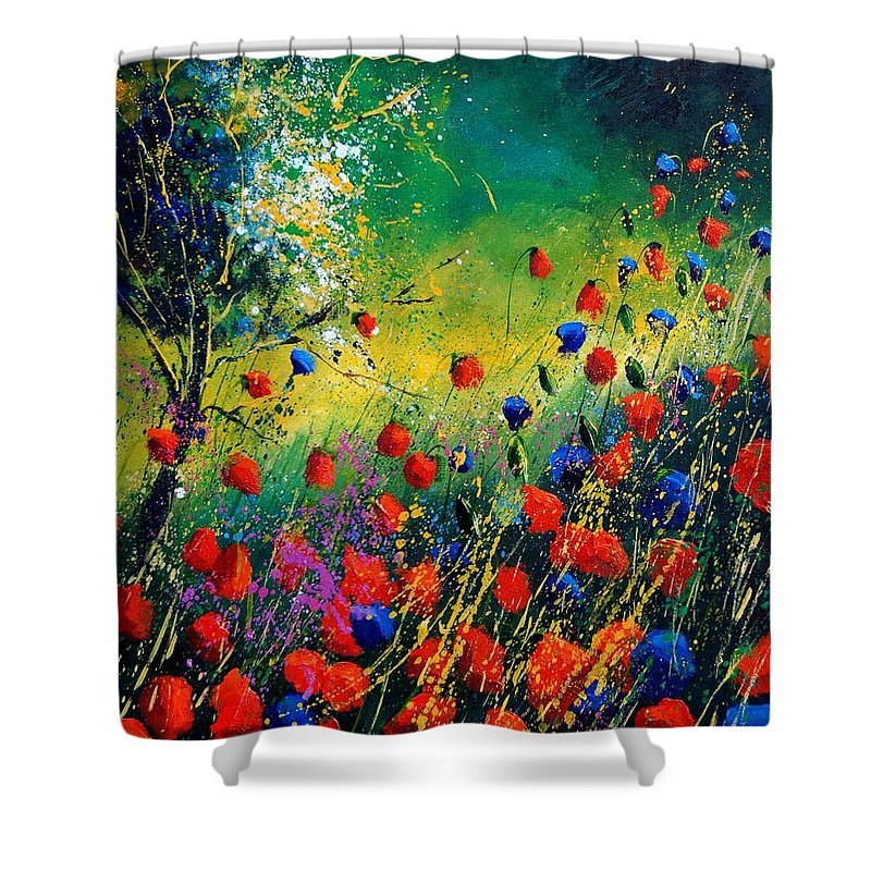 Flowers Shower Curtain featuring the painting Red And Blue Poppies by Pol Ledent