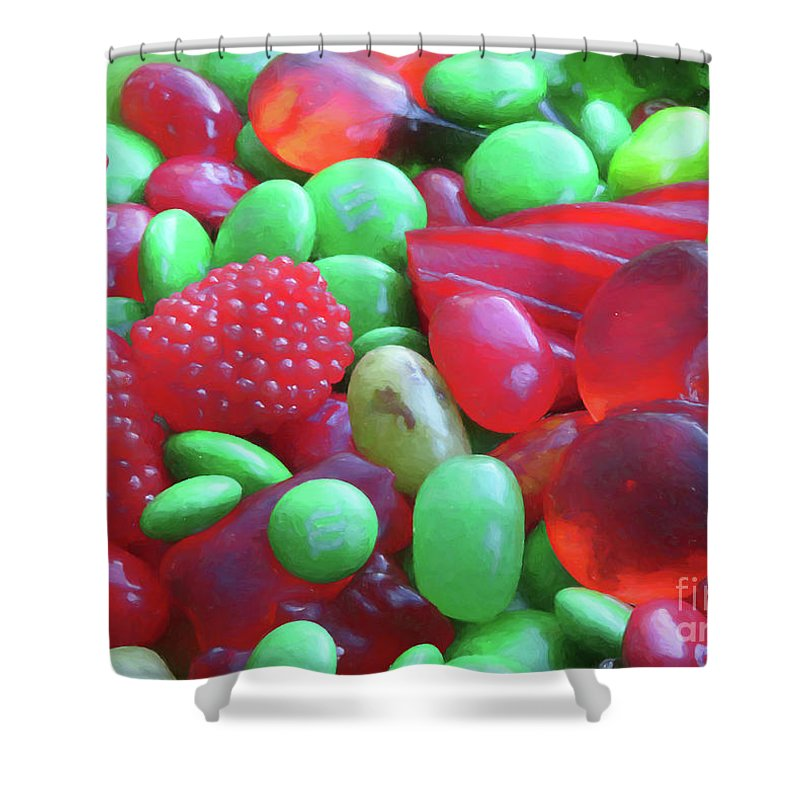 Candy Shower Curtain Featuring The Digital Art Red And Green By Elisabeth Lucas