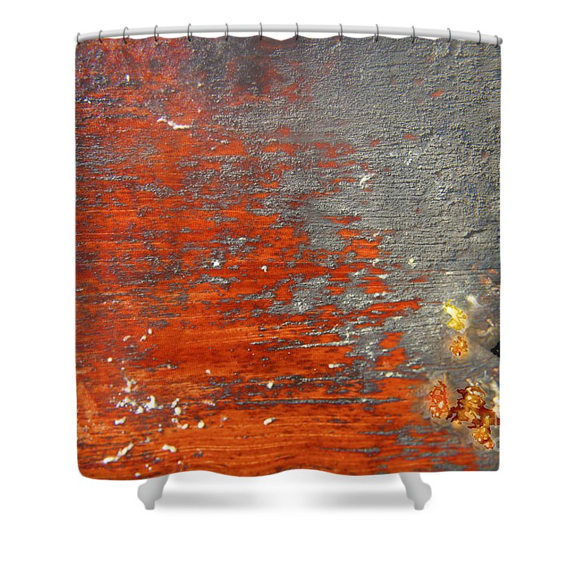 Red Shower Curtain featuring the photograph Red And Grey Abstract by Hana Shalom