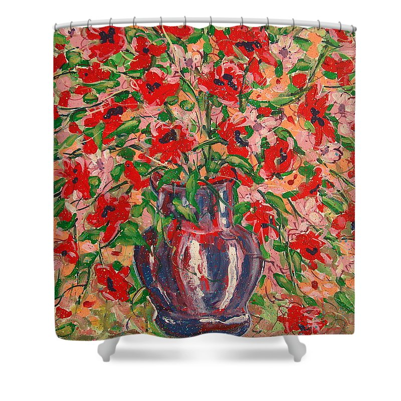 Flowers Shower Curtain featuring the painting Red And Pink Poppies. by Leonard Holland