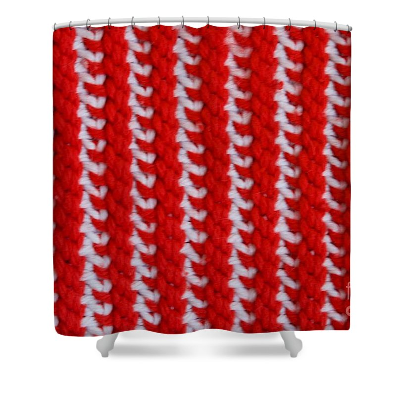 Material Shower Curtain featuring the photograph Red And White Knit by AnnaJo Vahle