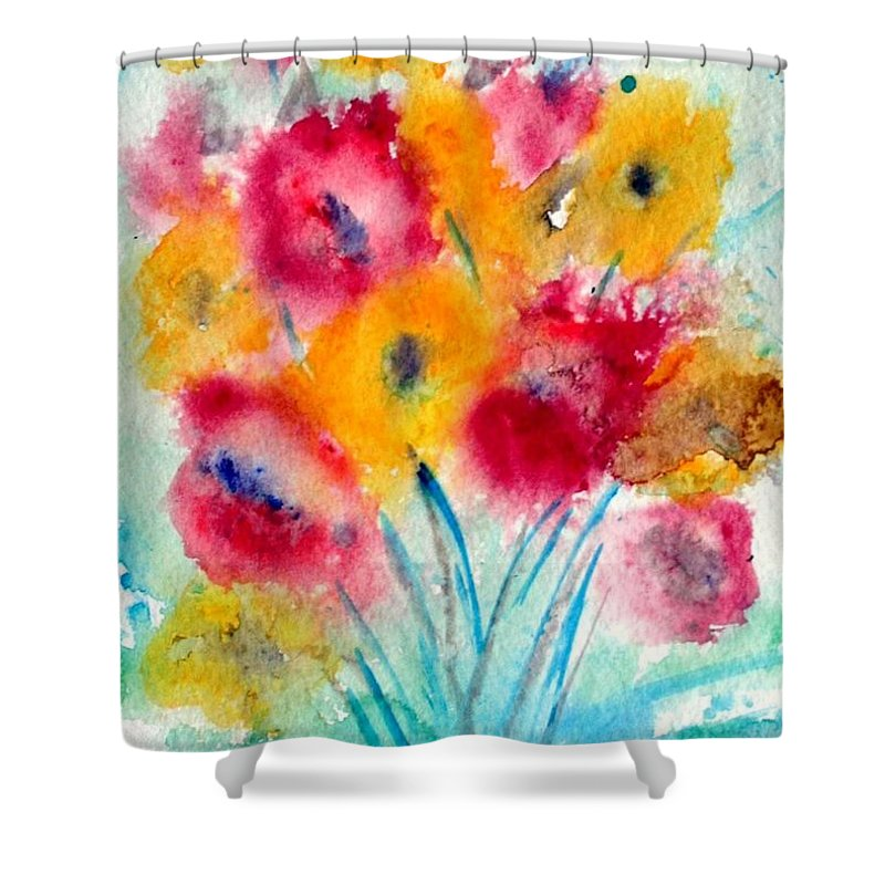 Flowers Shower Curtain featuring the painting Red And Yellow Flowers by Luiza Vizoli