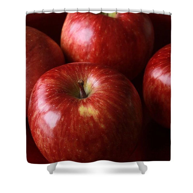Red Shower Curtain featuring the photograph Red Apples by FL collection