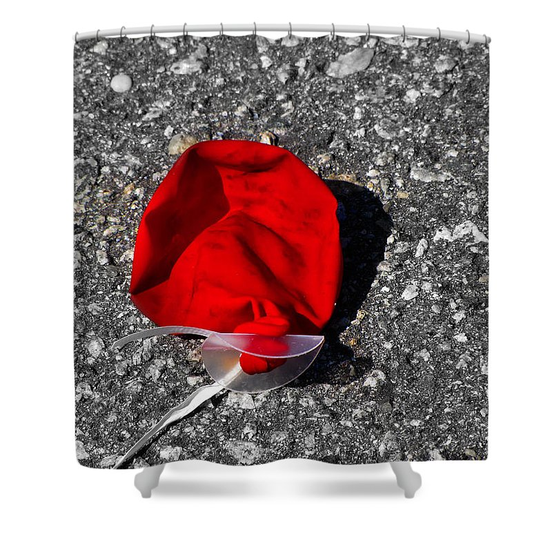 Balloon Shower Curtain featuring the photograph Red Balloon II by Gary Adkins