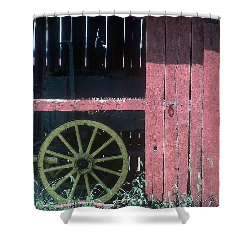 Amish Shower Curtain featuring the pyrography Red Barn And Wagon Wheel by D'Arcy Evans