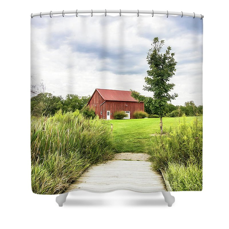 Dawes Shower Curtain featuring the photograph Red Barn At Dawes Arboretum by Tom Mc Nemar