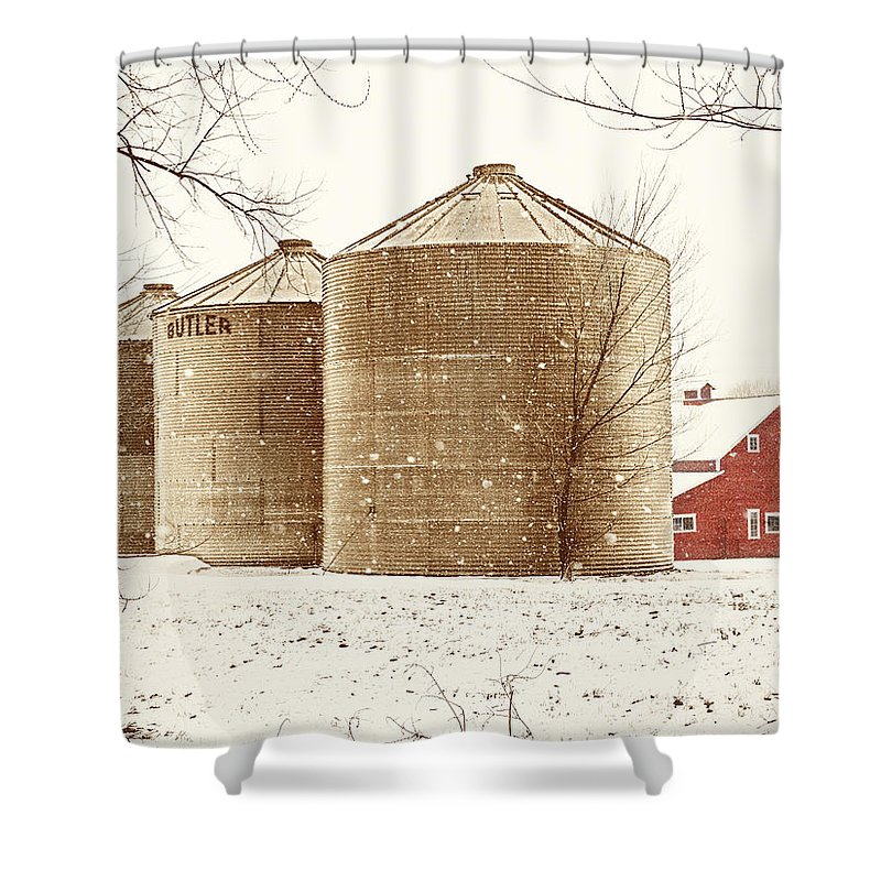 Americana Shower Curtain featuring the photograph Red Barn In Snow by Marilyn Hunt