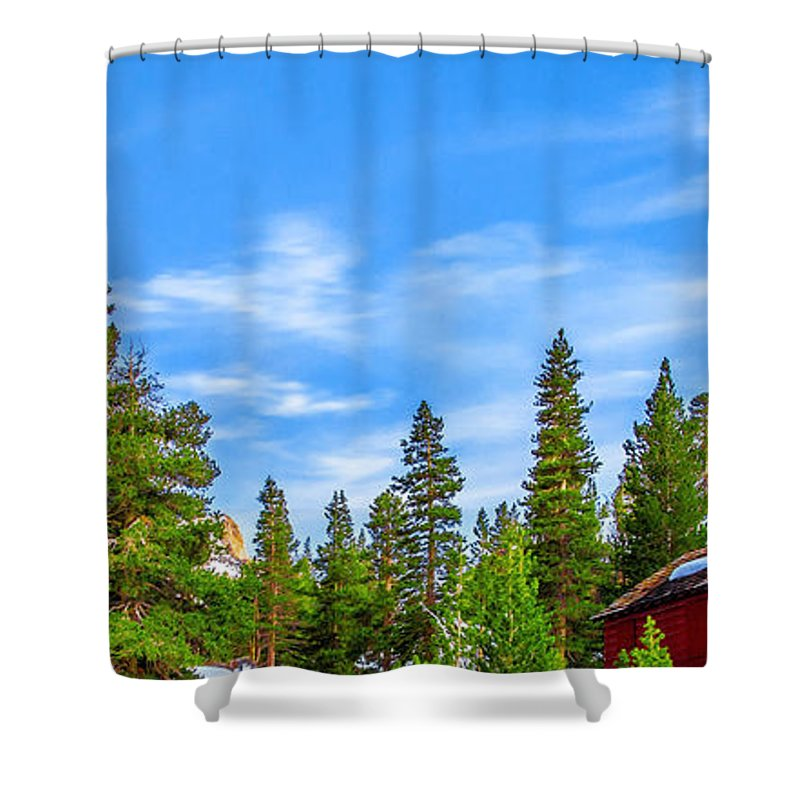 Yosemite National Park Shower Curtain featuring the photograph Red Barn On A Hill by Az Jackson