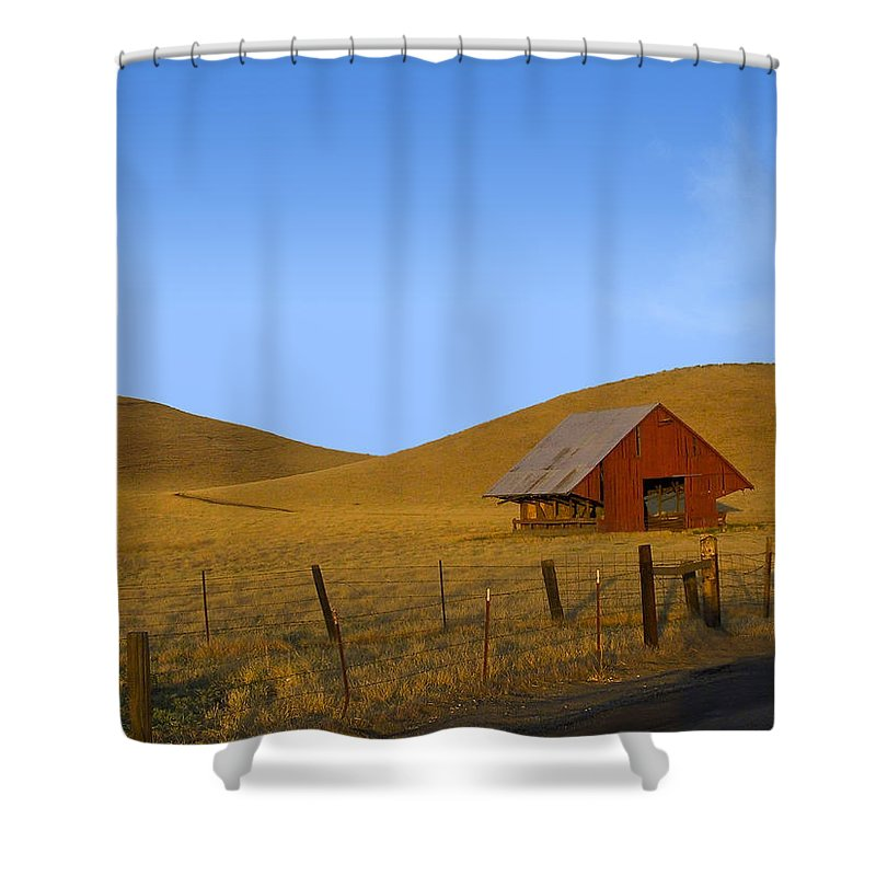 Landscape Shower Curtain featuring the photograph Red Barn Summer by Karen W Meyer