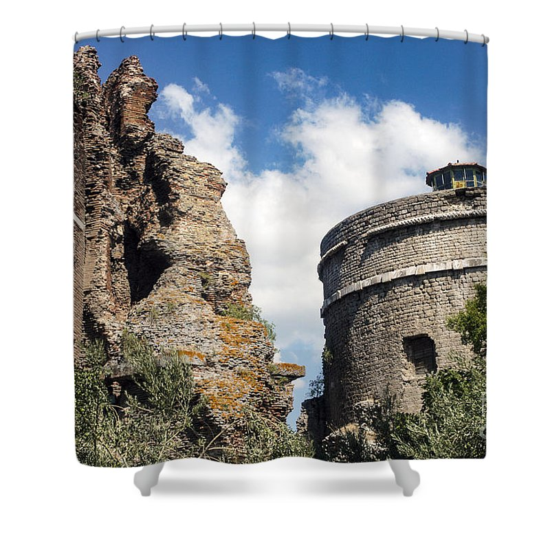 Bergama Pergamon Turkey Red Basilica Basilicas Serapis Temple Temples Byzantine Church Churches Place Of Worship Places Of Worship Structure Structures Building Buildings Brick Bricks Stone Stones Landmark Landmarks Shower Curtain featuring the photograph Red Basilica Scene 1 by Bob Phillips
