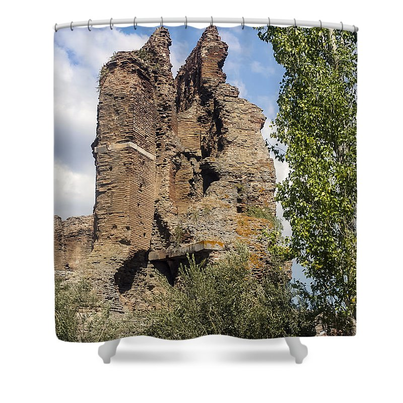Bergama Pergamon Turkey Red Basilica Basilicas Serapis Temple Temples Byzantine Church Churches Place Of Worship Places Of Worship Structure Structures Building Buildings Brick Bricks Stone Stones Landmark Landmarks Shower Curtain featuring the photograph Red Basilica Scene 9 by Bob Phillips