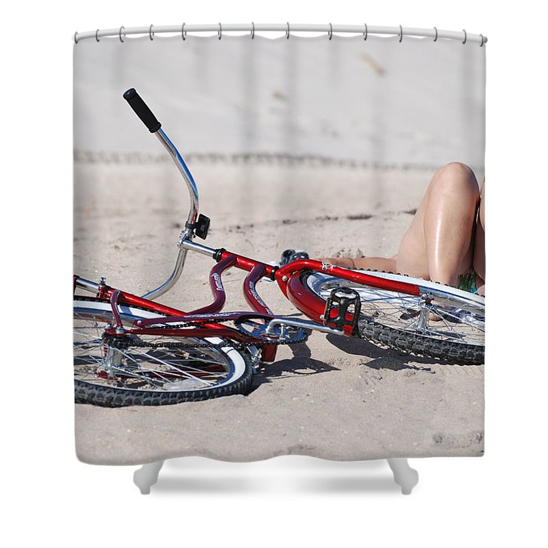 Red Shower Curtain featuring the photograph Red Bike On The Beach by Rob Hans