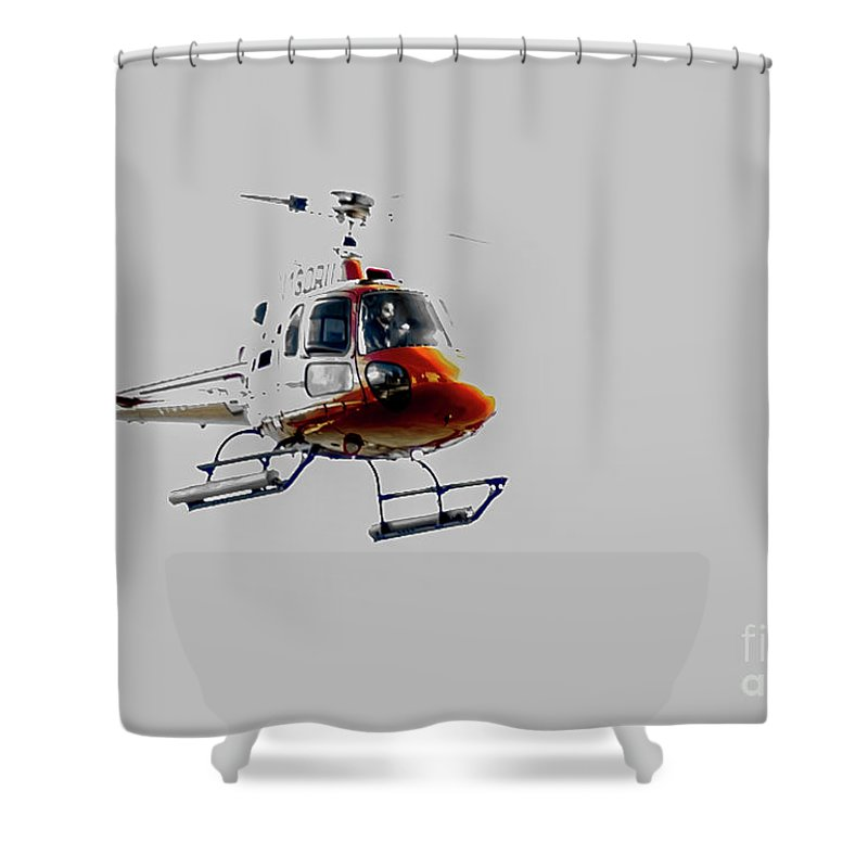 Helicopter Shower Curtain featuring the photograph Red Bird by Reynaldo Brigantty