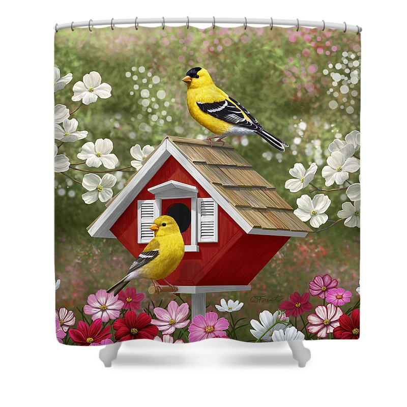Wild Birds Shower Curtain Featuring The Painting Red Birdhouse And Goldfinches By Crista Forest