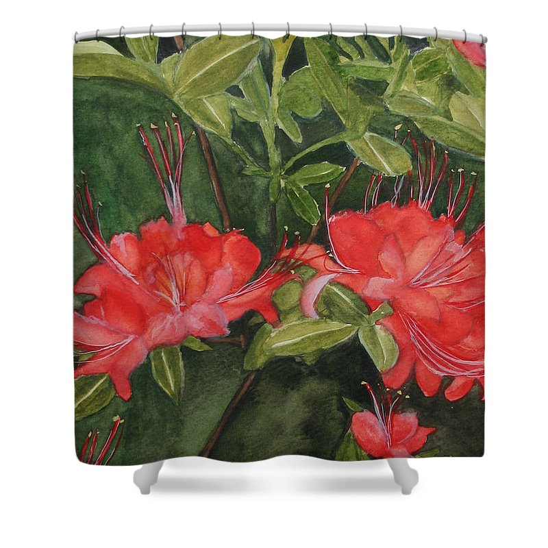 Flowers Shower Curtain featuring the painting Red Blooms on the Parkway by Jean Blackmer