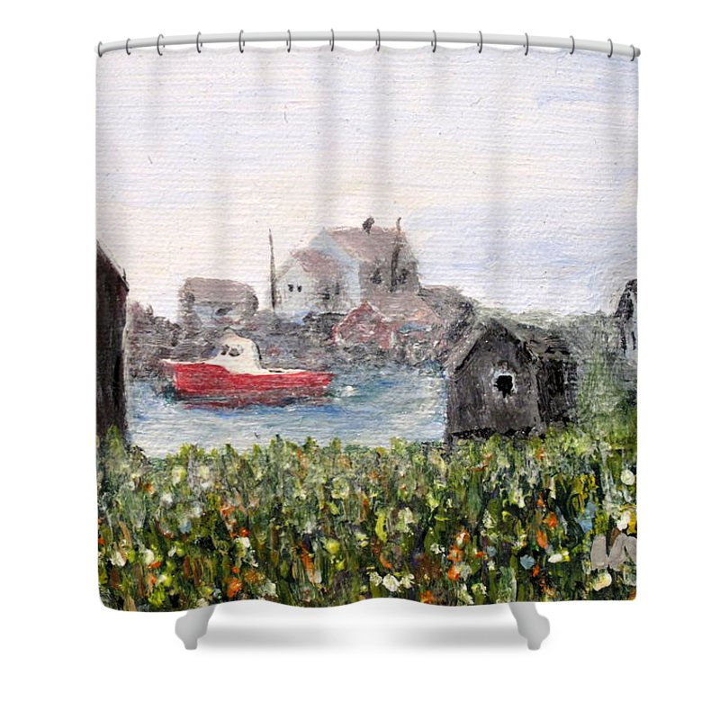 Red Boat Shower Curtain featuring the painting Red Boat In Peggys Cove Nova Scotia by Ian MacDonald