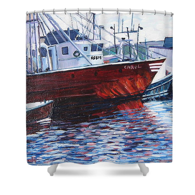 Boats Shower Curtain featuring the painting Red Boats by Richard Nowak