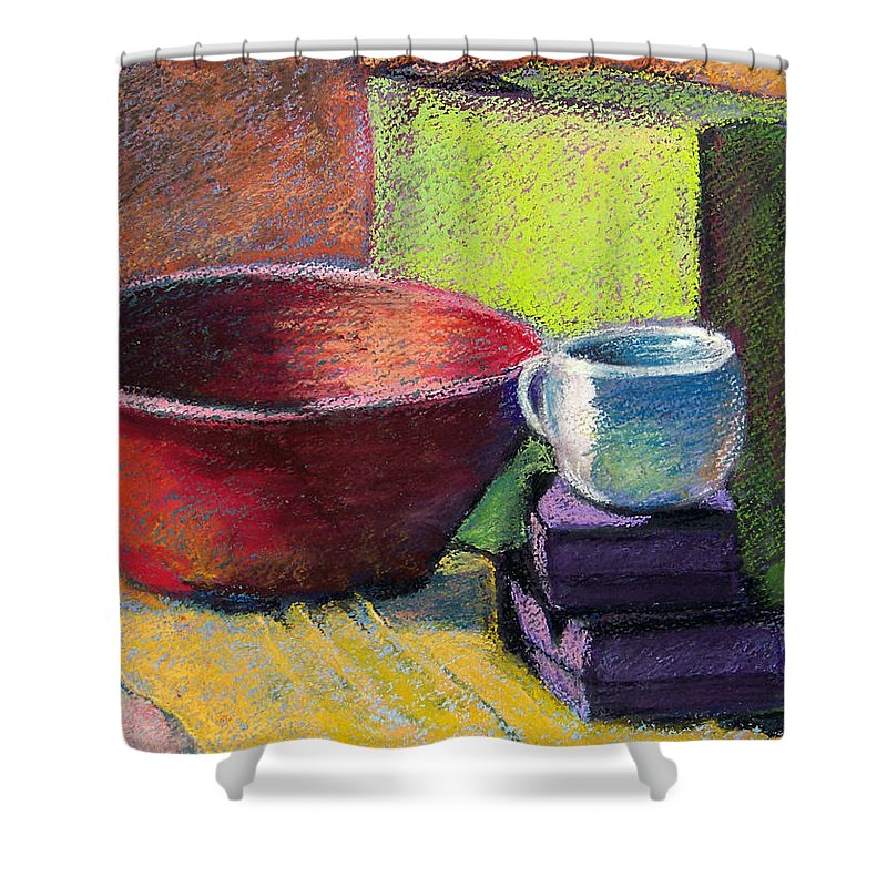 Bowl Shower Curtain featuring the painting Red Bowl by Laurie Paci