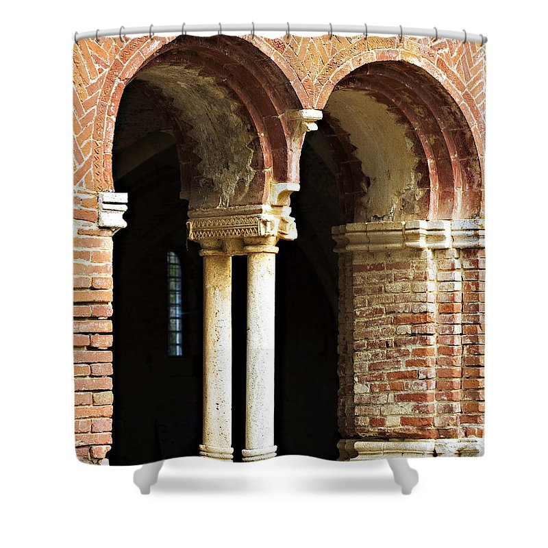 Red Shower Curtain featuring the photograph Red Brick Arches Regular by Marilyn Hunt