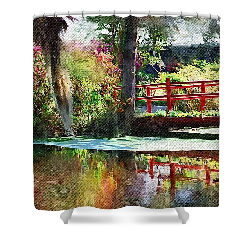 Red Bridge Shower Curtain featuring the photograph Red Bridge by Donna Bentley