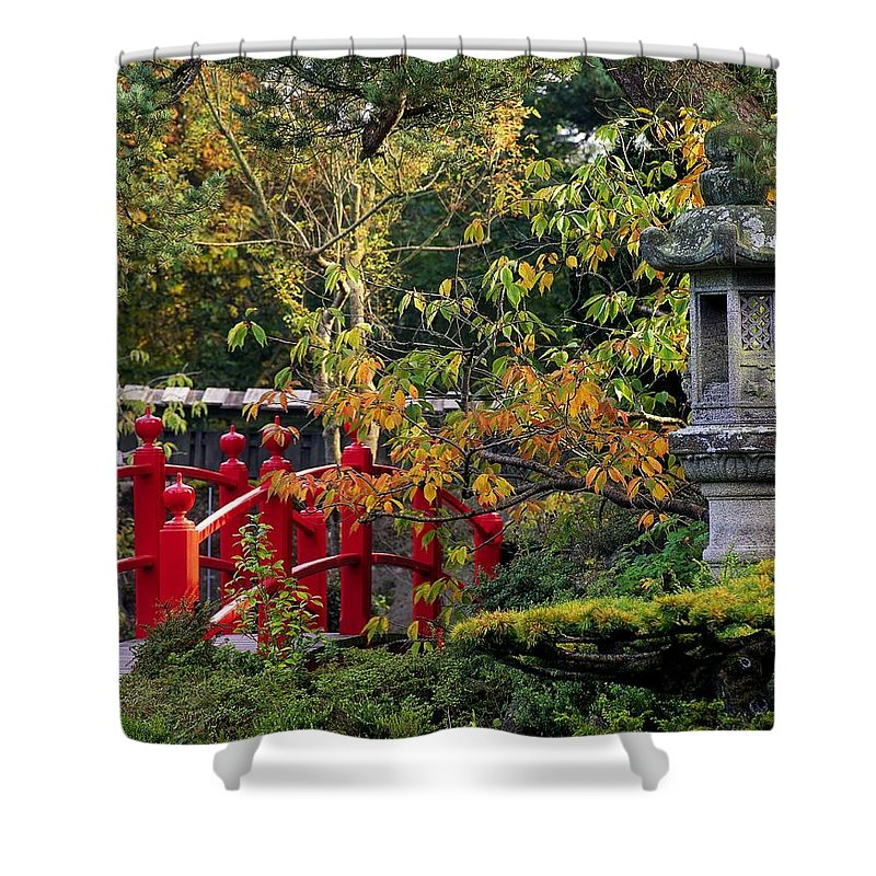 Atmosphere Shower Curtain featuring the photograph Red Bridge & Japanese Lantern, Autumn by The Irish Image Collection