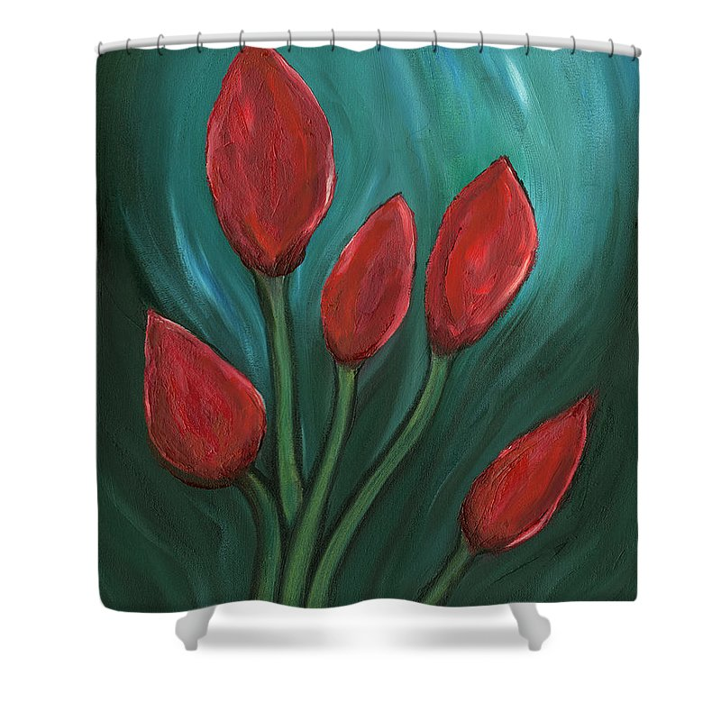 Water Flowers Shower Curtain featuring the painting Red Buds by Michael Highsmith