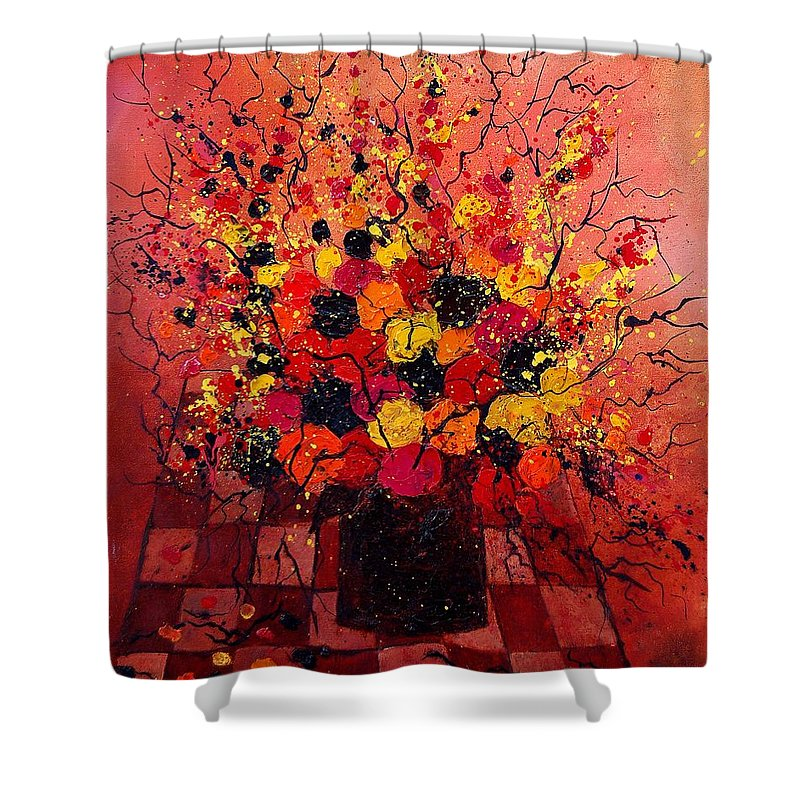 Flowers Shower Curtain featuring the painting Red Bunch by Pol Ledent