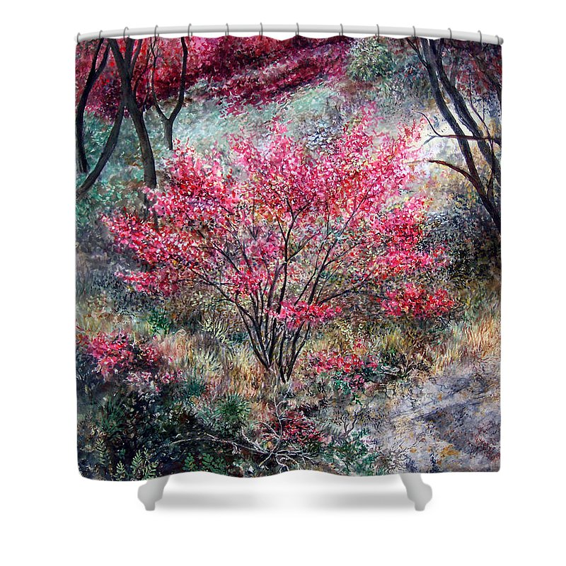 Landscape Shower Curtain featuring the painting Red Bush by Valerie Meotti