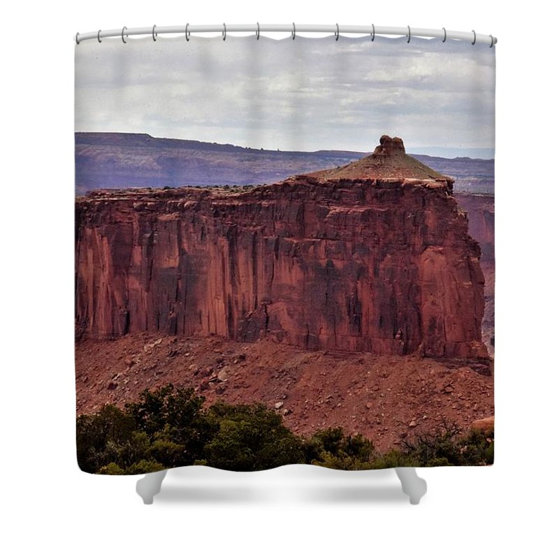 Butte Shower Curtain featuring the photograph Red Butte by Flo McKinley