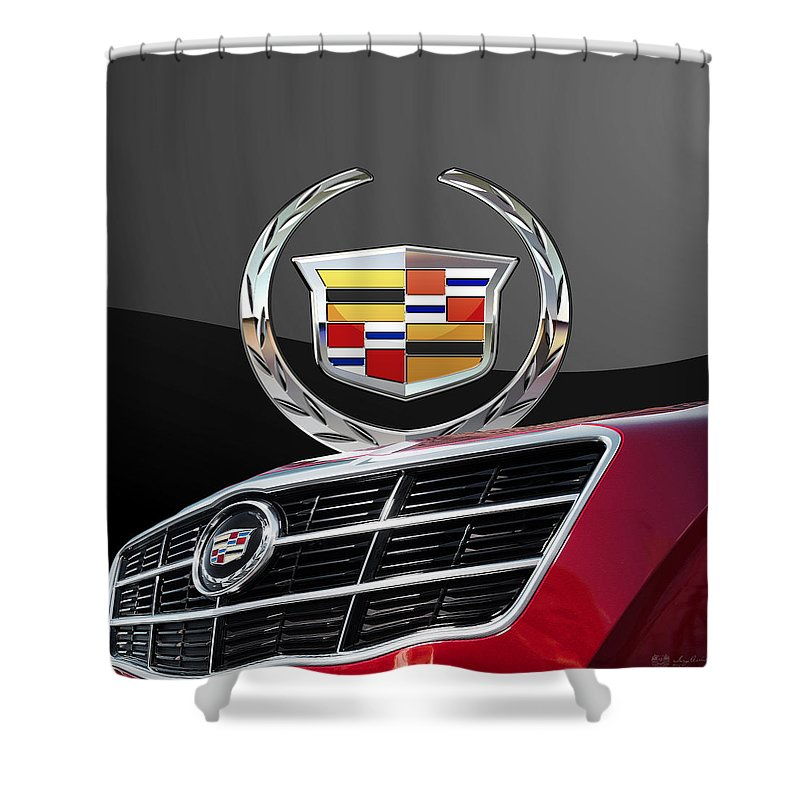 'auto Badges' By Serge Averbukh Shower Curtain featuring the photograph Red Cadillac C T S - Front Grill Ornament and 3D Badge on Black by Serge Averbukh