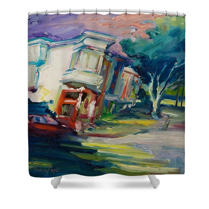 Trees Shower Curtain featuring the painting Red Cafe by Rick Nederlof