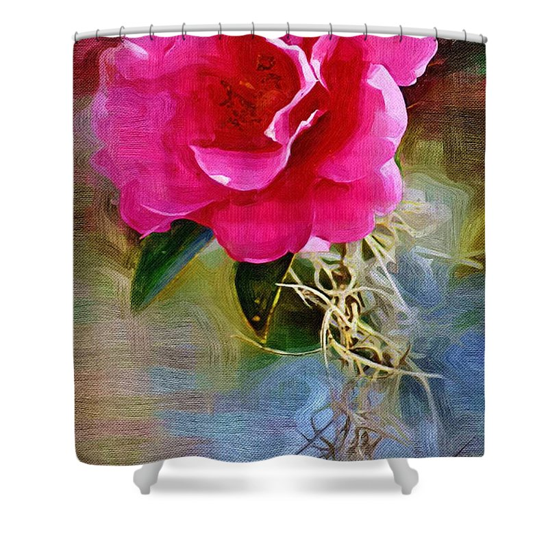 Flowers Shower Curtain featuring the photograph Red Camellia by Donna Bentley