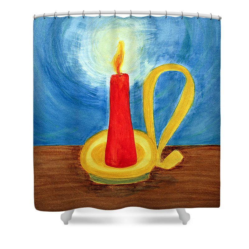 Art Shower Curtain featuring the painting Red Candle Lighting Up The Dark Blue Night. by Lee Serenethos